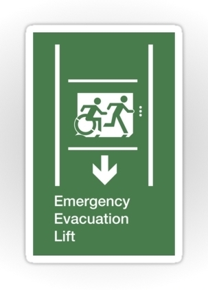 Accessible Means of Egress Icon Exit Sign Wheelchair Wheelie Running Man Symbol by Lee Wilson PWD Disability Emergency Evacuation Lift Elevator Sticker 5
