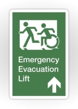 Accessible Means of Egress Icon Exit Sign Wheelchair Wheelie Running Man Symbol by Lee Wilson PWD Disability Emergency Evacuation Lift Elevator Sticker 6