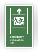 Accessible Means of Egress Icon Exit Sign Wheelchair Wheelie Running Man Symbol by Lee Wilson PWD Disability Emergency Evacuation Lift Elevator Sticker 7