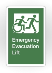 Accessible Means of Egress Icon Exit Sign Wheelchair Wheelie Running Man Symbol by Lee Wilson PWD Disability Emergency Evacuation Lift Elevator Sticker 8