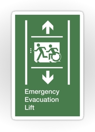 Accessible Means of Egress Icon Exit Sign Wheelchair Wheelie Running Man Symbol by Lee Wilson PWD Disability Emergency Evacuation Lift Elevator Sticker 9