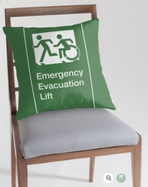 Accessible Means of Egress Icon Exit Sign Wheelchair Wheelie Running Man Symbol by Lee Wilson PWD Disability Emergency Evacuation Lift Elevator Throw Pillow 1