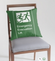 Accessible Means of Egress Icon Exit Sign Wheelchair Wheelie Running Man Symbol by Lee Wilson PWD Disability Emergency Evacuation Lift Elevator Throw Pillow 10