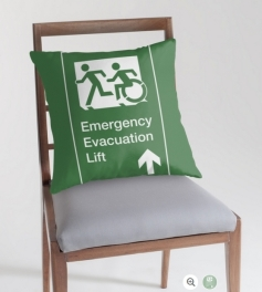 Accessible Means of Egress Icon Exit Sign Wheelchair Wheelie Running Man Symbol by Lee Wilson PWD Disability Emergency Evacuation Lift Elevator Throw Pillow 12