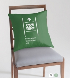 Accessible Means of Egress Icon Exit Sign Wheelchair Wheelie Running Man Symbol by Lee Wilson PWD Disability Emergency Evacuation Lift Elevator Throw Pillow 2