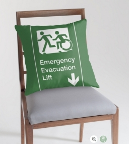 Accessible Means of Egress Icon Exit Sign Wheelchair Wheelie Running Man Symbol by Lee Wilson PWD Disability Emergency Evacuation Lift Elevator Throw Pillow 3
