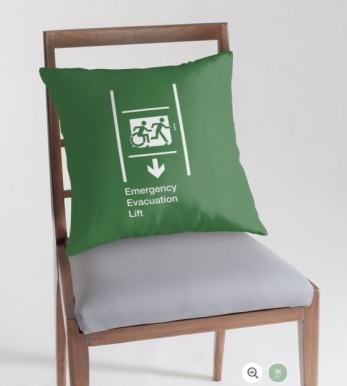 Accessible Means of Egress Icon Exit Sign Wheelchair Wheelie Running Man Symbol by Lee Wilson PWD Disability Emergency Evacuation Lift Elevator Throw Pillow 4
