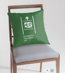 Accessible Means of Egress Icon Exit Sign Wheelchair Wheelie Running Man Symbol by Lee Wilson PWD Disability Emergency Evacuation Lift Elevator Throw Pillow 5