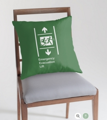 Accessible Means of Egress Icon Exit Sign Wheelchair Wheelie Running Man Symbol by Lee Wilson PWD Disability Emergency Evacuation Lift Elevator Throw Pillow 7