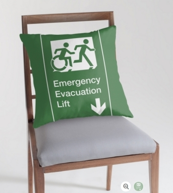 Accessible Means of Egress Icon Exit Sign Wheelchair Wheelie Running Man Symbol by Lee Wilson PWD Disability Emergency Evacuation Lift Elevator Throw Pillow 8