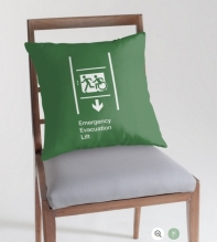 Accessible Means of Egress Icon Exit Sign Wheelchair Wheelie Running Man Symbol by Lee Wilson PWD Disability Emergency Evacuation Lift Elevator Throw Pillow 9