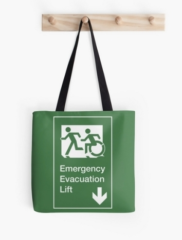 Accessible Means of Egress Icon Exit Sign Wheelchair Wheelie Running Man Symbol by Lee Wilson PWD Disability Emergency Evacuation Lift Elevator Tote Bag 1