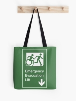Accessible Means of Egress Icon Exit Sign Wheelchair Wheelie Running Man Symbol by Lee Wilson PWD Disability Emergency Evacuation Lift Elevator Tote Bag 10