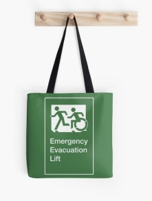 Accessible Means of Egress Icon Exit Sign Wheelchair Wheelie Running Man Symbol by Lee Wilson PWD Disability Emergency Evacuation Lift Elevator Tote Bag 3