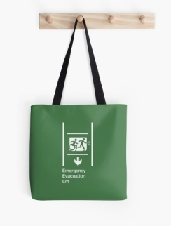 Accessible Means of Egress Icon Exit Sign Wheelchair Wheelie Running Man Symbol by Lee Wilson PWD Disability Emergency Evacuation Lift Elevator Tote Bag 4