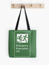 Accessible Means of Egress Icon Exit Sign Wheelchair Wheelie Running Man Symbol by Lee Wilson PWD Disability Emergency Evacuation Lift Elevator Tote Bag 8