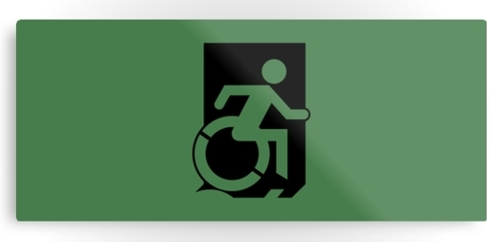 Accessible Means of Egress Icon Exit Sign Wheelchair Wheelie Running Man Symbol by Lee Wilson PWD Disability Emergency Evacuation Metal Printed 1