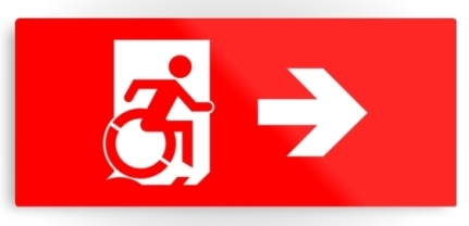 Accessible Means of Egress Icon Exit Sign Wheelchair Wheelie Running Man Symbol by Lee Wilson PWD Disability Emergency Evacuation Metal Printed 10