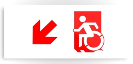 Accessible Means of Egress Icon Exit Sign Wheelchair Wheelie Running Man Symbol by Lee Wilson PWD Disability Emergency Evacuation Metal Printed 100