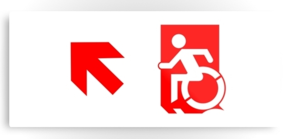 Accessible Means of Egress Icon Exit Sign Wheelchair Wheelie Running Man Symbol by Lee Wilson PWD Disability Emergency Evacuation Metal Printed 101