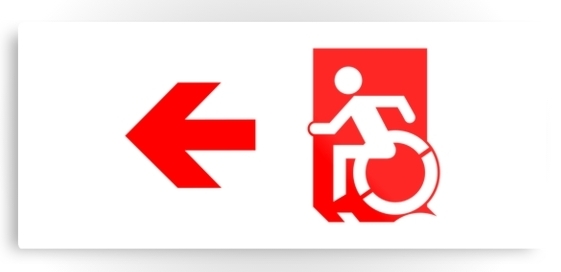 Accessible Means of Egress Icon Exit Sign Wheelchair Wheelie Running Man Symbol by Lee Wilson PWD Disability Emergency Evacuation Metal Printed 102