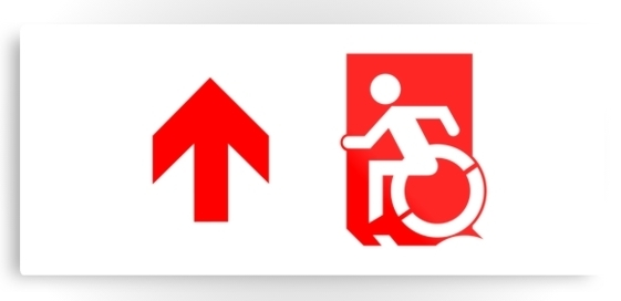 Accessible Means of Egress Icon Exit Sign Wheelchair Wheelie Running Man Symbol by Lee Wilson PWD Disability Emergency Evacuation Metal Printed 103
