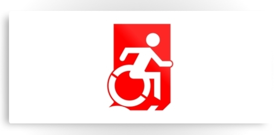 Accessible Means of Egress Icon Exit Sign Wheelchair Wheelie Running Man Symbol by Lee Wilson PWD Disability Emergency Evacuation Metal Printed 104