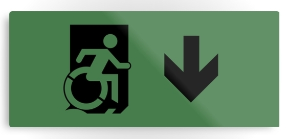 Accessible Means of Egress Icon Exit Sign Wheelchair Wheelie Running Man Symbol by Lee Wilson PWD Disability Emergency Evacuation Metal Printed 105