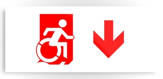 Accessible Means of Egress Icon Exit Sign Wheelchair Wheelie Running Man Symbol by Lee Wilson PWD Disability Emergency Evacuation Metal Printed 106