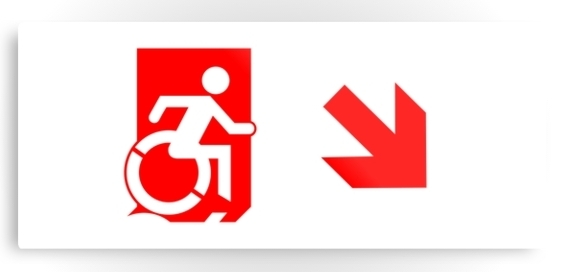 Accessible Means of Egress Icon Exit Sign Wheelchair Wheelie Running Man Symbol by Lee Wilson PWD Disability Emergency Evacuation Metal Printed 107