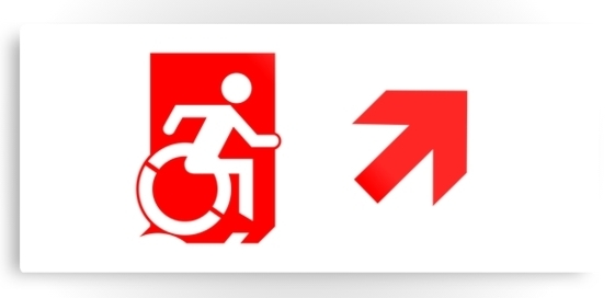 Accessible Means of Egress Icon Exit Sign Wheelchair Wheelie Running Man Symbol by Lee Wilson PWD Disability Emergency Evacuation Metal Printed 108