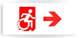 Accessible Means of Egress Icon Exit Sign Wheelchair Wheelie Running Man Symbol by Lee Wilson PWD Disability Emergency Evacuation Metal Printed 109