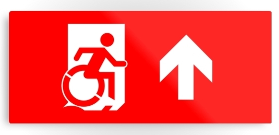Accessible Means of Egress Icon Exit Sign Wheelchair Wheelie Running Man Symbol by Lee Wilson PWD Disability Emergency Evacuation Metal Printed 11