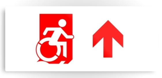 Accessible Means of Egress Icon Exit Sign Wheelchair Wheelie Running Man Symbol by Lee Wilson PWD Disability Emergency Evacuation Metal Printed 110