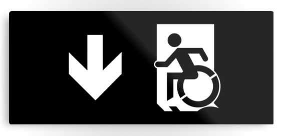Accessible Means of Egress Icon Exit Sign Wheelchair Wheelie Running Man Symbol by Lee Wilson PWD Disability Emergency Evacuation Metal Printed 111