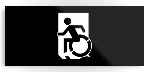 Accessible Means of Egress Icon Exit Sign Wheelchair Wheelie Running Man Symbol by Lee Wilson PWD Disability Emergency Evacuation Metal Printed 112