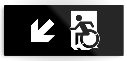 Accessible Means of Egress Icon Exit Sign Wheelchair Wheelie Running Man Symbol by Lee Wilson PWD Disability Emergency Evacuation Metal Printed 113