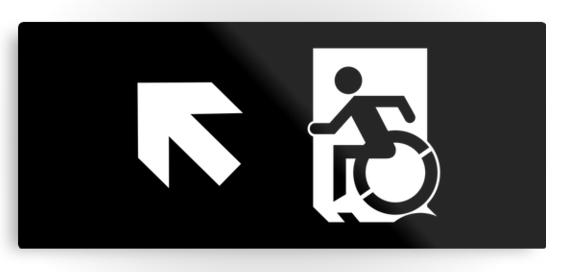 Accessible Means of Egress Icon Exit Sign Wheelchair Wheelie Running Man Symbol by Lee Wilson PWD Disability Emergency Evacuation Metal Printed 114