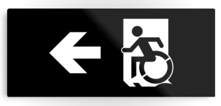 Accessible Means of Egress Icon Exit Sign Wheelchair Wheelie Running Man Symbol by Lee Wilson PWD Disability Emergency Evacuation Metal Printed 115