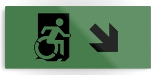 Accessible Means of Egress Icon Exit Sign Wheelchair Wheelie Running Man Symbol by Lee Wilson PWD Disability Emergency Evacuation Metal Printed 116