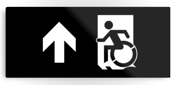 Accessible Means of Egress Icon Exit Sign Wheelchair Wheelie Running Man Symbol by Lee Wilson PWD Disability Emergency Evacuation Metal Printed 117