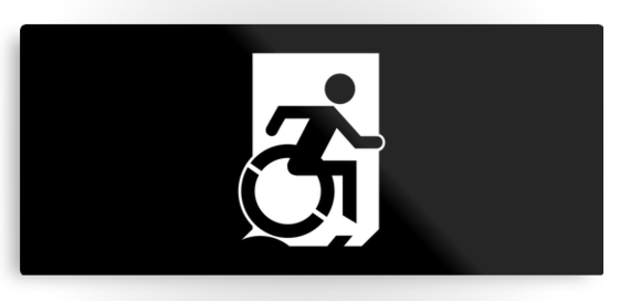 Accessible Means of Egress Icon Exit Sign Wheelchair Wheelie Running Man Symbol by Lee Wilson PWD Disability Emergency Evacuation Metal Printed 118