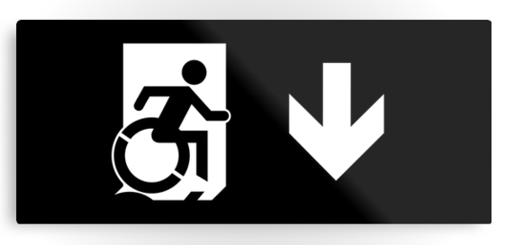 Accessible Means of Egress Icon Exit Sign Wheelchair Wheelie Running Man Symbol by Lee Wilson PWD Disability Emergency Evacuation Metal Printed 119