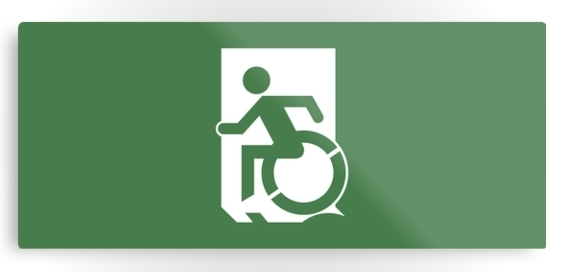 Accessible Means of Egress Icon Exit Sign Wheelchair Wheelie Running Man Symbol by Lee Wilson PWD Disability Emergency Evacuation Metal Printed 12