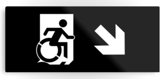 Accessible Means of Egress Icon Exit Sign Wheelchair Wheelie Running Man Symbol by Lee Wilson PWD Disability Emergency Evacuation Metal Printed 120