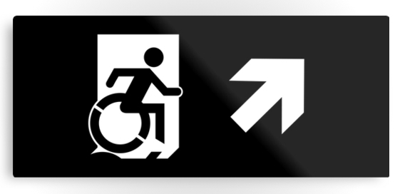 Accessible Means of Egress Icon Exit Sign Wheelchair Wheelie Running Man Symbol by Lee Wilson PWD Disability Emergency Evacuation Metal Printed 121