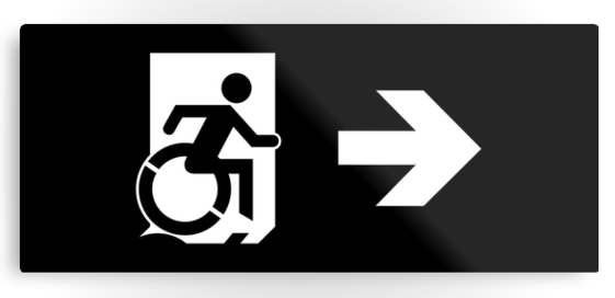 Accessible Means of Egress Icon Exit Sign Wheelchair Wheelie Running Man Symbol by Lee Wilson PWD Disability Emergency Evacuation Metal Printed 122