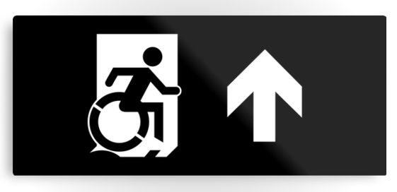 Accessible Means of Egress Icon Exit Sign Wheelchair Wheelie Running Man Symbol by Lee Wilson PWD Disability Emergency Evacuation Metal Printed 123