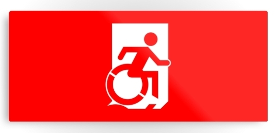 Accessible Means of Egress Icon Exit Sign Wheelchair Wheelie Running Man Symbol by Lee Wilson PWD Disability Emergency Evacuation Metal Printed 124