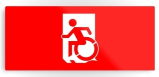 Accessible Means of Egress Icon Exit Sign Wheelchair Wheelie Running Man Symbol by Lee Wilson PWD Disability Emergency Evacuation Metal Printed 125